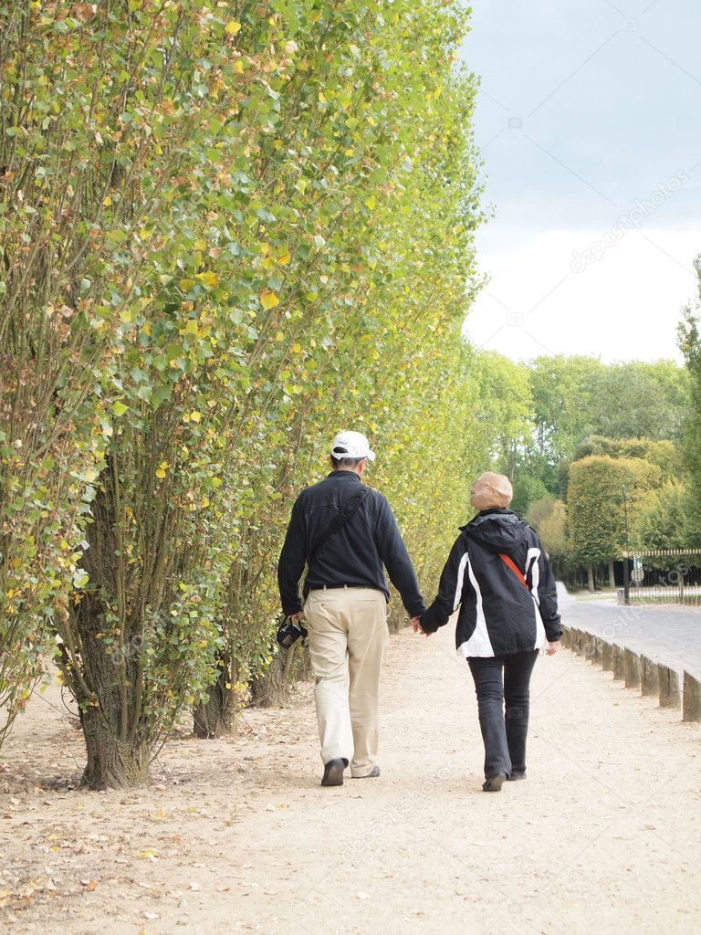 Couple Holding Hand and Walk together at Versailles in France , Photo on 17 September 2010 — Stock Photo #4313210