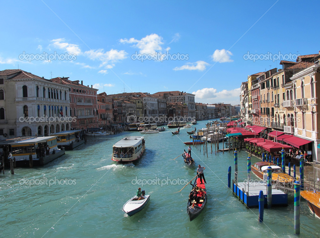 It really is grand. The Grand Canal for Editorial with Blue sky at Venice in Italy , Europe  Foto Stock #4314679