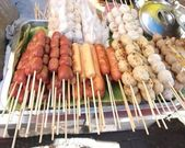 Grill Fish balls , Beef Balls , Pork Balls — Stock Photo