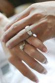 Hands and wedding rings — Stock Photo