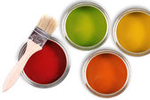 Colorful paint buckets with paintbrush — Stock Photo