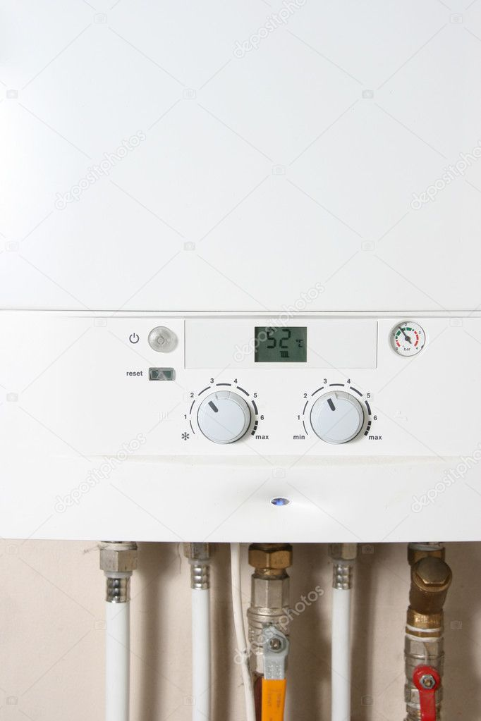 Central gas heating boiler — Stock Photo #4104616