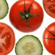 Stock Photo: Tomatoes and cucumbers on white background