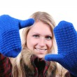 Woman with blue gloves on her hands — Stock fotografie