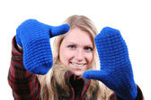 Woman with blue gloves on her hands — Stock Photo