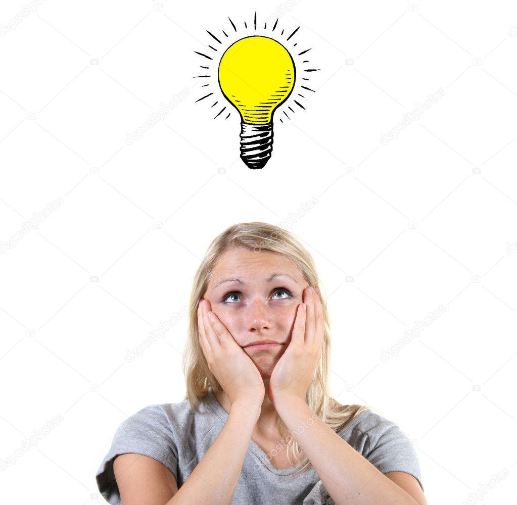 有聪明的主意,她头上的灯泡的女人