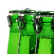 Three green beer bottles — Stock Photo