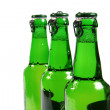 Green beer bottles isolated on white background — Stock Photo
