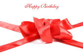 Red gift ribbon with text - happy birtday — Stock Photo