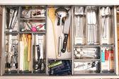 Kitchen utensils drawer — Stock Photo