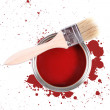 Red paint can with brush and color stains — Stock Photo