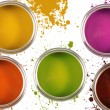Colorful paint buckets with color spots - Stock Photo