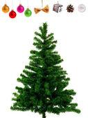 Leere weihnachtsbaum und dekoration-objekte — Stockfoto