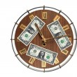 Time is money concept - wall clock with dollar bills — Stock Photo