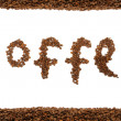 Stock Photo: Text from coffee beans