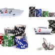 Set of casino items: chips and cards - Stock Photo