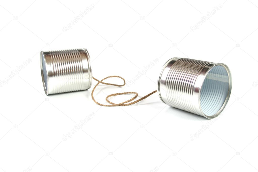 Communication concept: tin can phone — Stock Photo #4854001