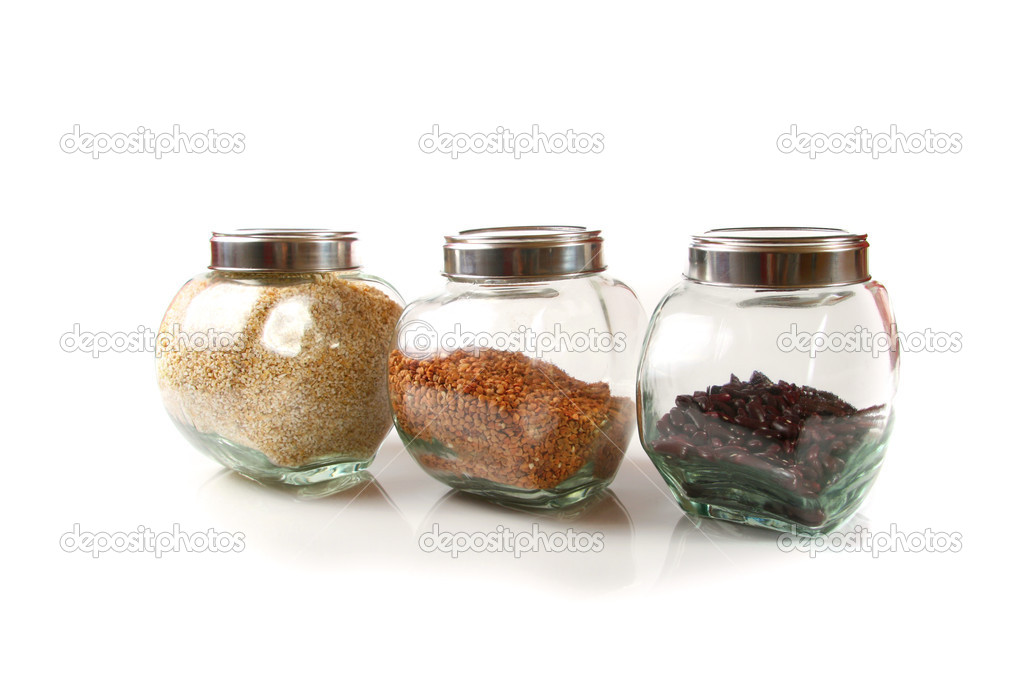 Grains and cereals in the glassy jars  Stock Photo #5028392