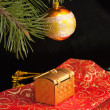 Stock Photo: Christmas decorations on black background