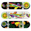 Set of Three Vector Skateboard Designs — Stock Vector