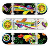 Set of Three Vector Skateboard Designs — Stock Vector