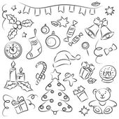 New Year Sketch Set — Stock Vector