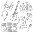 Music Set Sketch - Stock Vector