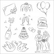 Wedding Sketch Set — Stock Vector