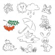 "Stock Vector: Vector Sketch Clipart Set ""Autumn"