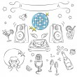 "Vector Sketch Clipart Set ""Disco Party - Stock Vector"