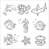 Sea Life Vector Sketch Set — Stock Vector