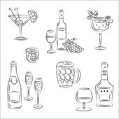 "Set of vector sketches ""Alcoholic beverages and cocktails"" — Stock Vector"