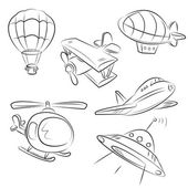 Sketched Types of Air Transport — Stock Vector