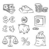 Money Sketch Set — Stock Vector