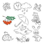"Vector Sketch Clipart Set ""Autumn — Stock Vector"