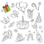 "Vector Sketch Clipart Set "" Birthday Party — Stock Vector"
