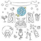 "Vector Sketch Clipart Set ""Disco Party — Stock Vector"