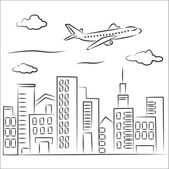 Plane over the city — Stock Vector