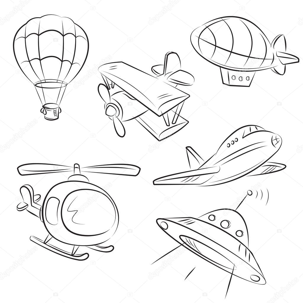 sketched types of air transport stock illustration