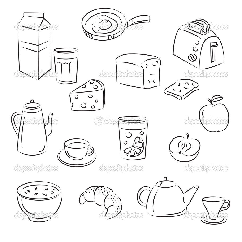 depositphotos 4093134 Vector Sketch Clipart Set quotBreakfast foodquot American Flag as background for Clip Art Illustration for your design.