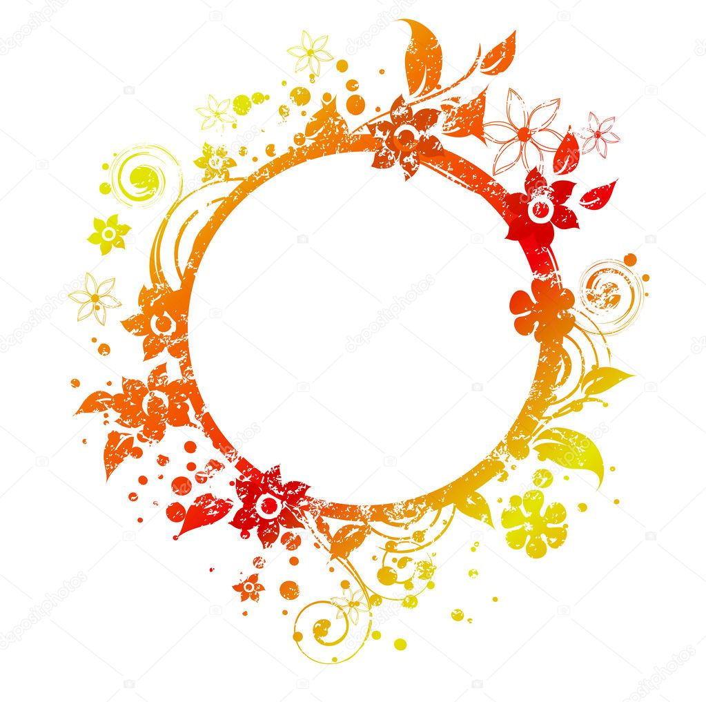 round frame decorated with grunge texture and floral elements in autumn colors vector by igorij