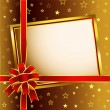 Golden Background with red bow and card — Imagens vectoriais em stock