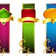 Colorful Banners with Golden Ribbons — Stock Vector