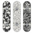 Stock Vector: Three vector skateboard abstract designs