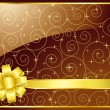 Royalty-Free Stock Vector Image: Swirl Horizontal Card (Brown) with golden bow