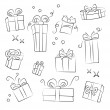Gift Box Collection. Easy to colorize — Stock Vector
