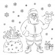 Santa Claus distributes gifts at Christmas — Stock Vector