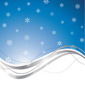Blue wave background with snowflakes — Stock Vector