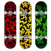 Three vector skateboard colorful designs — Vettoriale Stock