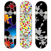 Three skateboard colorful designs — Stock Vector